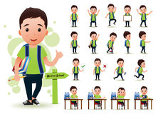 Ready to Use Little Boy Student Character with Different Facial Expressions. Hair Colors, Body Parts and Accessories. Vector Illustration Royalty Free Stock Images