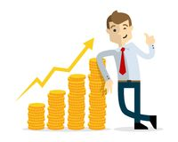 Vector of Businessman with gold coins chart Royalty Free Stock Photo