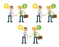 Vector pack of businessman shake hands, selling idea royalty free illustration