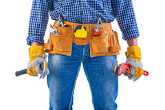 Ready to work close up view on tools in toolbelt. And hands isolated construction concept Royalty Free Stock Image
