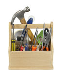 Ready Tools in Toolbox. Sturdy wooden toobox filled with tools ready to be used - path included Stock Photography