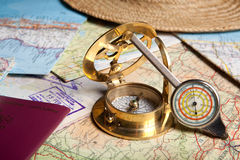 Ready for travel. Tools and maps for planning a trip Royalty Free Stock Images