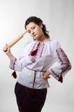 Ready Ukrainian girl with a rolling pin Stock Photos