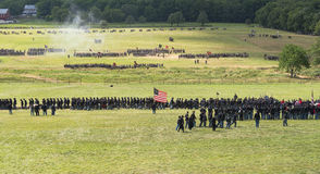 Ready for war at Gettysburg. A long line of Union soldiers and artillery align on the battlefield at the 150th anniversary of the battle of Gettysburg Stock Image