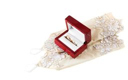 Ready for wedding. Wedding rings in the box on the gloves Stock Photography