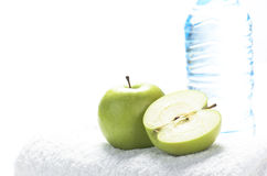 Towel and apple Stock Photo