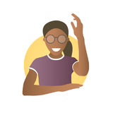 Ready, willing to answer or help black girl in glasses. Flat gradient style icon of african pretty woman with hand up. Simply edit stock illustration