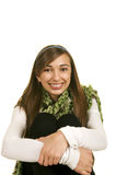 Ready for Winter. Portrait of a beautiful brunette teenage girl with a nice smile Royalty Free Stock Photo