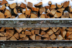 Ready for Winter. Stack of snow capped firewood Stock Photography