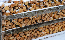 Ready for Winter. Stack of winter fire wood against old wooden fence Royalty Free Stock Photography