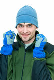 Ready for winter sport. Young man in winter sport suit on white Stock Photography