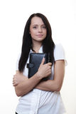 Ready for work. Good looking woman holding a filofax ready for a hard days work Stock Photos
