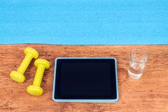 Ready for workout with video fitness course Royalty Free Stock Image