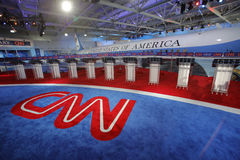 REAGAN biblioteka prezydencka, SIMI dolina, los angeles, CA - WRZESIEŃ 16, 2015, CNN Prezydencka debata uwypukla Air Force One tł fotografia royalty free