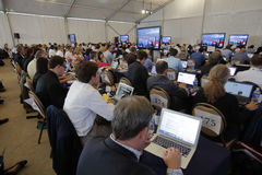 REAGAN PRESIDENTIAL LIBRARY, SIMI VALLEY, LA, CA - SEPTEMBER 16, 2015, Media filing room during the Republican presidential debate Stock Photo