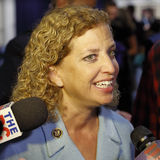 REAGAN PRESIDENTS- ARKIV, SIMI VALLEY, LA, CA - SEPTEMBER 16, 2015 DNC stol Debbie Wasserman Schultz som intervjuas under pren Arkivfoton