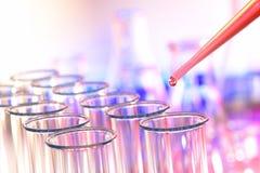 Reageerbuizen in het Laboratorium van het Onderzoek van de Wetenschap stock foto's