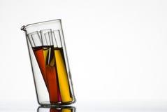 Reageerbuizen in kleine glascontainer Royalty-vrije Stock Afbeelding