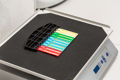 Reagent strip test urinalysis in laboratory Royalty Free Stock Images