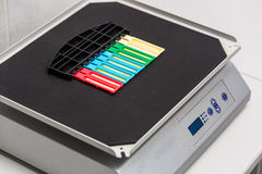 Reagent strip test urinalysis in laboratory Stock Photos