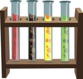 Reagentes químicos no apoio no vetor Imagem de Stock Royalty Free
