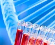 Reagenzgläser auf roter Flüssigkeit auf abstraktem DNA-Hintergrund Lizenzfreie Stockfotografie