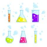 Reagenzgläser, Becher, Flaschen und Blasen Bunte Ikonen des Vektors Stockbild