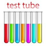 Reagenzgläser mit Impfstoff farbigen Flüssigkeiten Lizenzfreies Stockfoto
