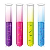 Reagenzgläser stellten mit Flüssigkeit und Bakterien Zelle und Pförtner ein Vektor Lizenzfreie Stockfotos