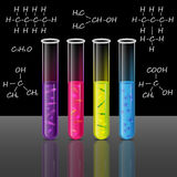 Reagenzgläser stellten mit Flüssigkeit und Bakterien Zelle und Pförtner ein Vektor Lizenzfreies Stockfoto