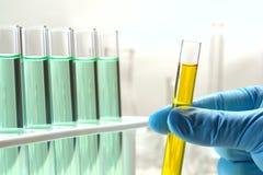 Reagenzglas in der Wissenschaftler-Hand Lizenzfreie Stockbilder