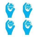 Reagenzglas mit einem Virus in einem Handikonensymbol des Kampfes gegen eine Epidemie Lizenzfreie Stockfotos