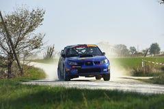 Reagrupe o carro na raça, wrc do impreza do subaru Imagem de Stock Royalty Free
