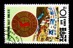 Reagrupe o emblema, a reunião para a paz e a reunificação do serie de Coreia, Imagens de Stock
