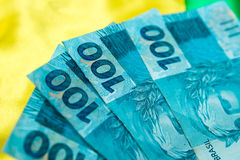 (100 Reais) on the brazilian flag Royalty Free Stock Images