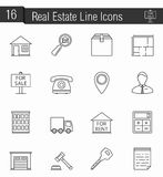 Reak Estate Icons. 16 Real estate line icons stock illustration