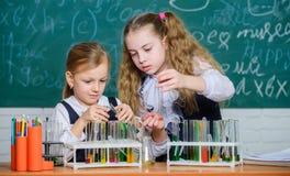 Reaktion der chemischen Analyse und beobachten Schulausr?stung f?r Labor M?dchen auf Schulchemielektion schule lizenzfreies stockfoto