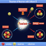 Reaktion des Neutrons mit Lithium-6 Lizenzfreies Stockbild