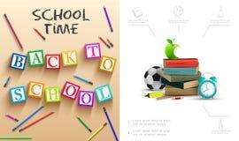 Realístico de volta à composição da escola ilustração do vetor