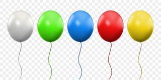 Realístico do vetor do balão 3D isolado no fundo transparente Ballons coloridos da festa de anos com linhas ilustração royalty free