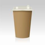 Realístico leve embora o copo de café de papel Ilustração do vetor Fotos de Stock