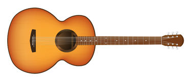 Real acoustic guitar on a white background Stock Image