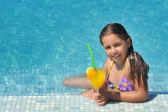 Free Real Adorable Girl Relaxing In Swimming Pool Royalty Free Stock Image - 137822906