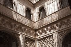 Real Alcazar de Sevilla courtyard Stock Photo