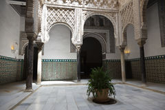 Real Alcazar de Sevilla courtyard Royalty Free Stock Photo