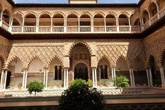 Real Alcazar de Sevilla. Patio de las Doncellas Stock Photos