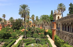 Real Alcazar Gardens in Sevilla Royalty Free Stock Photo