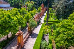 Real Alcazar Gardens in Seville Andalucia Spain stock photo