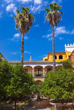 Real Alcazar Gardens in Seville Spain. Nature and architecture background Stock Image