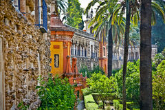 Real Alcazar Gardens in Seville, Spain. Real Alcazar  Reales Alcazares gardens in Seville, Andalusia, Spain Royalty Free Stock Images